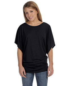 Black Women's Flowy Draped Sleeve Dolman T-Shirt