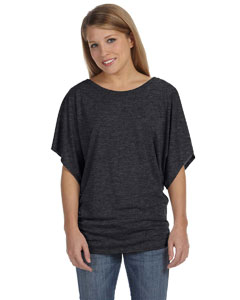 Dark Grey Heather Women's Flowy Draped Sleeve Dolman T-Shirt