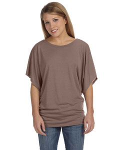 Pebble Brown Women's Flowy Draped Sleeve Dolman T-Shirt