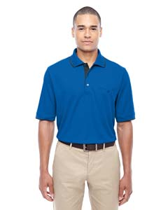 Tr Roy/ Crbn 438 Men's Motive Performance Pique Polo with Tipped Collar