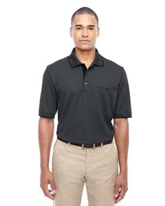 Carbon/ Blck 456 Men's Motive Performance Pique Polo with Tipped Collar