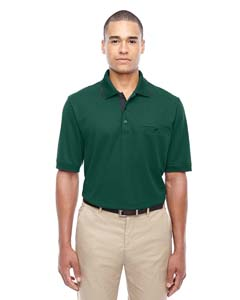 Forest/ Crbn 630 Men's Motive Performance Pique Polo with Tipped Collar