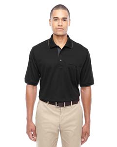 Blck/ Carbon 703 Men's Motive Performance Pique Polo with Tipped Collar