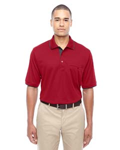 Cl Red/ Crbn 850 Men's Motive Performance Pique Polo with Tipped Collar