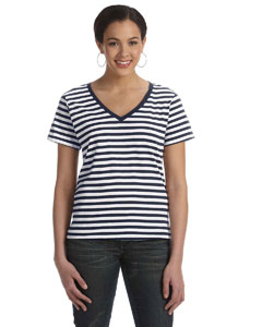 Navy/white Women's Striped V-Neck T-Shirt