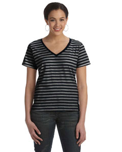 Black/black/heather Women's Striped V-Neck T-Shirt