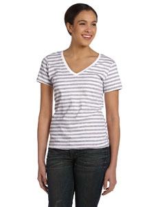 Heather Grey/white Women's Striped V-Neck T-Shirt