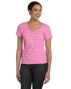 Pink/pink/heather Women's Striped V-Neck T-Shirt