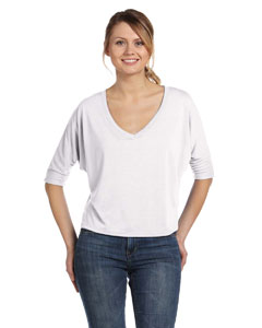 White Women's Flowy Half-Sleeve V-Neck T-Shirt