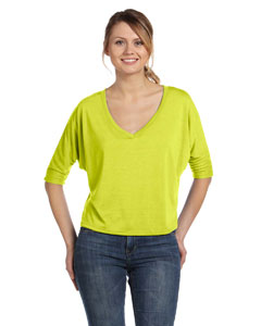 Neon Yellow Women's Flowy Half-Sleeve V-Neck T-Shirt