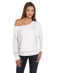 White Women's Flowy Long-Sleeve Off Shoulder T-Shirt