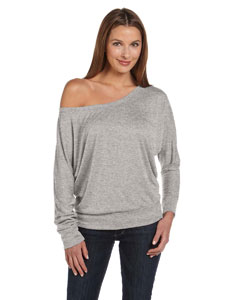 Athletic Heather Women's Flowy Long-Sleeve Off Shoulder T-Shirt