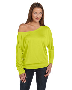 Neon Yellow Women's Flowy Long-Sleeve Off Shoulder T-Shirt