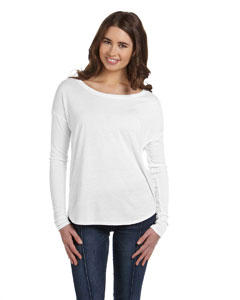White Women's Flowy Long-Sleeve T-Shirt with 2x1 Sleeves