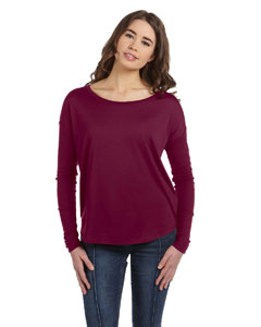 Maroon Women's Flowy Long-Sleeve T-Shirt with 2x1 Sleeves