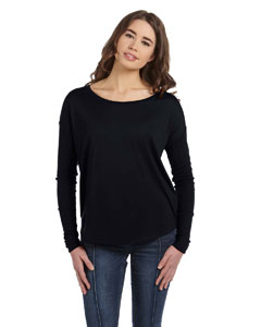 Black Women's Flowy Long-Sleeve T-Shirt with 2x1 Sleeves