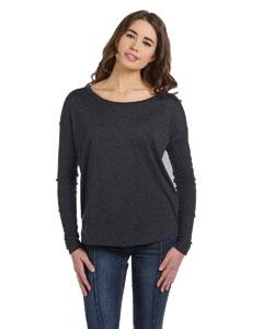 Dark Grey Heather Women's Flowy Long-Sleeve T-Shirt with 2x1 Sleeves