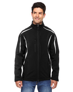 Black 703 Men's Enzo Colorblocked Three-Layer Fleece Bonded Soft Shell Jacket