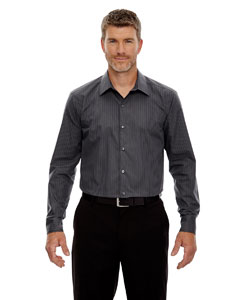 Carbon 456 Men's Boardwalk Wrinkle-Free Two-Ply 80's Cotton Striped Tape Shirt