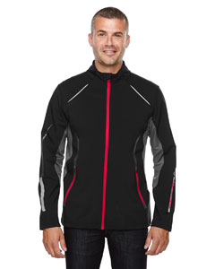 Blk/ Oly Red 461 Men's Pursuit Three-Layer Light Bonded Hybrid Soft Shell Jacket with Laser Perforation