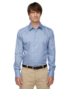 Ink Blue 460 Men's Refine Wrinkle-Free Two-Ply 80's Cotton Royal Oxford Dobby Taped Shirt