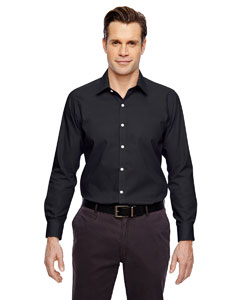 Black 703 Men's Precise Wrinkle-Free Two-Ply 80's Cotton Dobby Taped Shirt