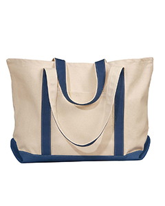 Natural/navy Carmel Canvas Tote