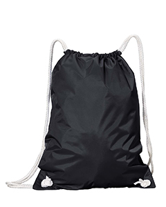 Black White Drawstring Backpack