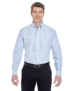 Blue/ White Men's Classic Wrinkle-Resistant Long-Sleeve Oxford