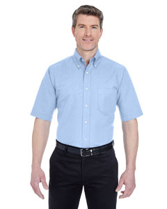 Light Blue Men's Classic Wrinkle-Resistant Short-Sleeve Oxford