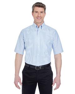 Blue/ White Men's Classic Wrinkle-Resistant Short-Sleeve Oxford