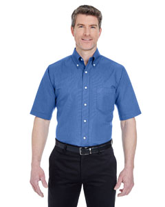 French Blue Men's Classic Wrinkle-Resistant Short-Sleeve Oxford