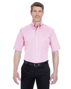 Pink Men's Classic Wrinkle-Resistant Short-Sleeve Oxford