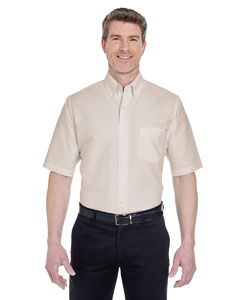 Tan Men's Classic Wrinkle-Resistant Short-Sleeve Oxford
