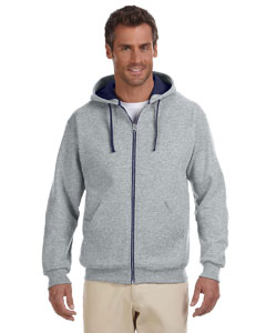 Oxford/j Navy 8 oz., 50/50 NuBlend® Contrast Full-Zip Hood