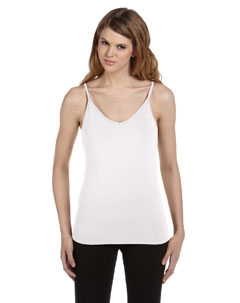 White Women's Cotton/Spandex Shelf Bra Tank