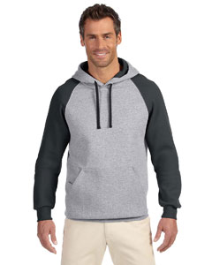 Oxford/black 8 oz., 50/50 NuBlend® Colorblock Raglan Pullover Hood
