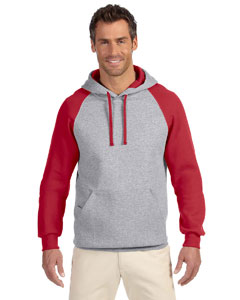 Oxford/true Red 8 oz., 50/50 NuBlend® Colorblock Raglan Pullover Hood