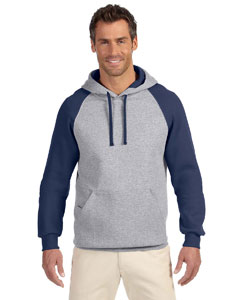 Oxford/j Navy 8 oz., 50/50 NuBlend® Colorblock Raglan Pullover Hood