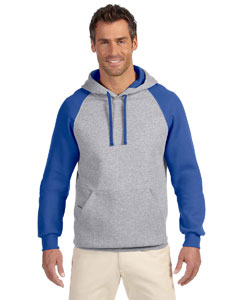 Oxford/royal 8 oz., 50/50 NuBlend® Colorblock Raglan Pullover Hood