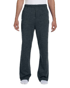 Black Heather 8 oz., 50/50 NuBlend® Open-Bottom Sweatpants