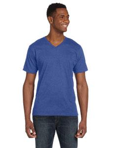 Heather Blue Ringspun V-Neck T-Shirt