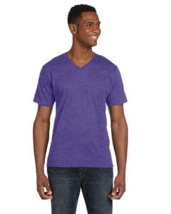 Heather Purple Ringspun V-Neck T-Shirt