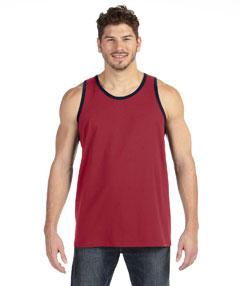 Indep Red/navy Ringspun Tank