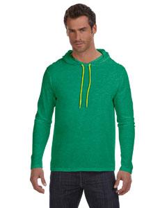 Hth Grn/neon Yel Ringspun Long-Sleeve Hooded T-Shirt
