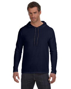 Navy/dark Grey Ringspun Long-Sleeve Hooded T-Shirt
