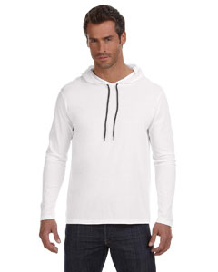White/dark Grey Ringspun Long-Sleeve Hooded T-Shirt