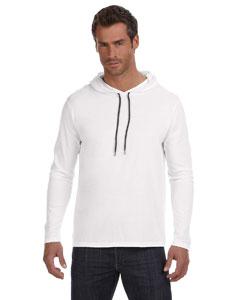 White/dark Grey Ringspun Long-Sleeve Hooded T-Shirt