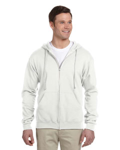 White 8 oz., 50/50 NuBlend® Fleece Full-Zip Hood