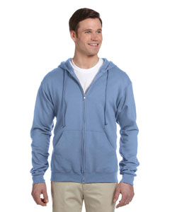 Light Blue 8 oz., 50/50 NuBlend® Fleece Full-Zip Hood